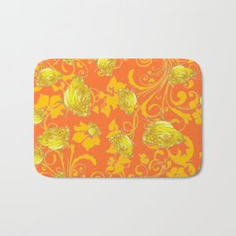 AWESOME CUMIN ORANGE & YELLOW ROSE SCROLLS  ART Bath Mat
