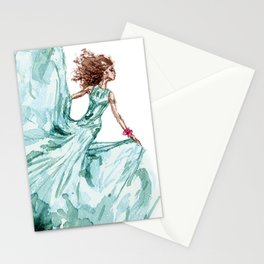 Fashion Blue Turquoise Teal Dress Girl Stationery Cards