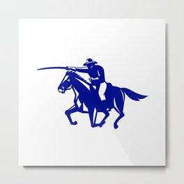 American Cavalry Charging Retro Metal Print
