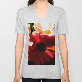 Daisies In Abstract Unisex V-Neck