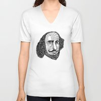 shakespeare V-neck T-shirts featuring William Shakespeare by Feld Sprucetree
