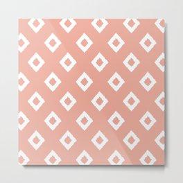 Festive, Boho, Geometric, Diamond, Pattern, Coral Pink Metal Print