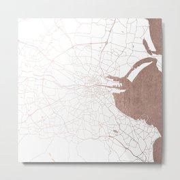 Dublin White on Rosegold Street Map II Metal Print