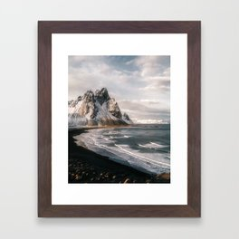 Stokksnes Icelandic Mountain Beach Sunset - Landscape Photography Framed Art Print