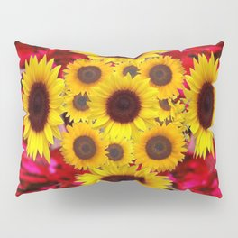 JULY RUBY RED GEMSTONES & YELLOW FLOWERS Pillow Sham