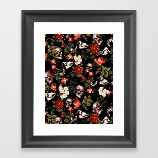 Floral and Skull Dark Pattern by burcukorkmazyurek