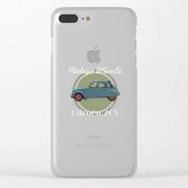 Vintage Wheels: Citroën 2CV blue Clear iPhone Case