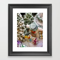 Can i open it now daddy?(Snowman family) Framed Art Print