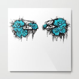 If I Could hide your eyes - blue version Metal Print