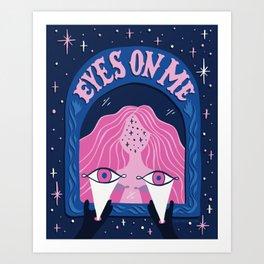 Eyes On Me - Navy/Pink Art Print