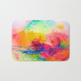 Colorful Bright Abstracted Landscape Painting. Version 2 - Bright Neon Bath Mat