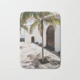 Palm tree growing in the street. La Palma, Canary Island. Bath Mat