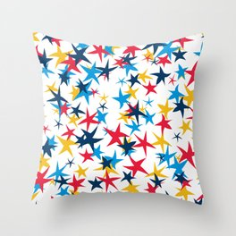 Red white and blue stars with a pop of yellow Throw Pillow