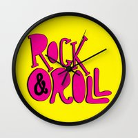 rock and roll Wall Clocks featuring Rock & Roll by Chelsea Herrick