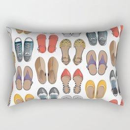 Hard choice // shoes on white background Rectangular Pillow