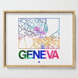 Geneva Watercolor Street Map Serving Tray