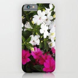 Patient Impatiens - Deep Pink and Sparkling White iPhone Case