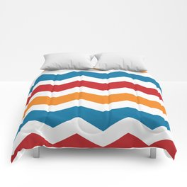 Blue Red Orange Chevron Comforters