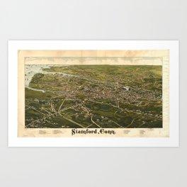 Vintage Pictorial Map of Stamford CT (1883) Art Print