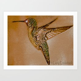 Golden Hummingbird Art Print