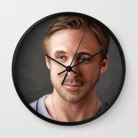 ryan gosling Wall Clocks featuring Ryan Gosling by Mailys Brau