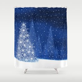 Snowy Night Christmas Tree Holiday Design Shower Curtain