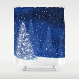 Snowy Night Christmas Tree Holiday Design Shower Curtain