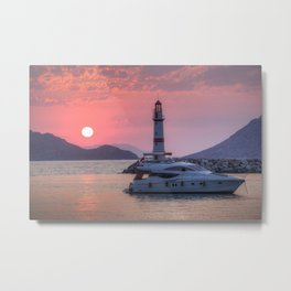 Lighthouse And Yacht Sunset Metal Print