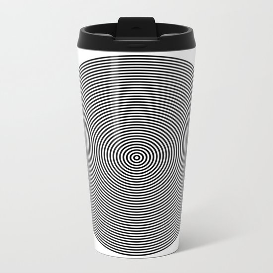 Hypnotic Circles optical illusion Metal Travel Mug