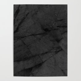 Dark Grey Matte Black Marble Poster
