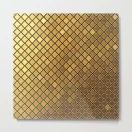 Gold yellow square mosaic tiles texutre illustration pattern. Abstract geometric background. Metal Print