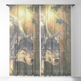 Wolf Painting - Moment Sheer Curtain