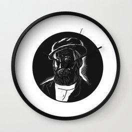 Hernan Cortes Conquistador Woodcut Wall Clock