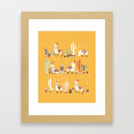 Happy llama with cactus in a pot Framed Art Print