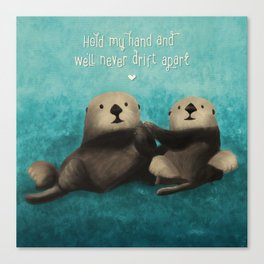 Sea Otters in Love Canvas Print