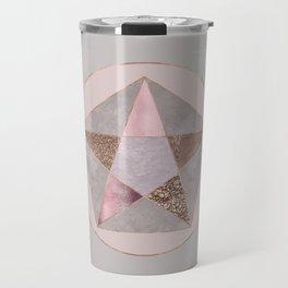Glamorous Rose Gold Pentagon Symbol Travel Mug