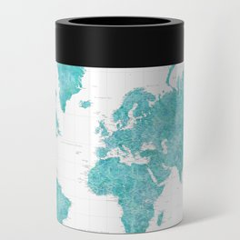 Highly detailed watercolor world map in aquamarine Can Cooler