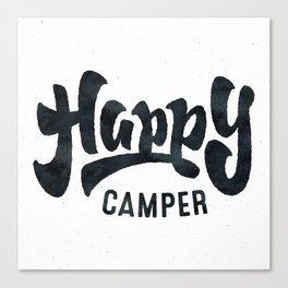 HAPPY CAMPER Black and White Retro Canvas Print