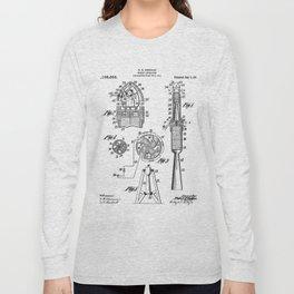 Rocket Ship Patent - Nasa Rocketship Art - Black And White Long Sleeve T-shirt