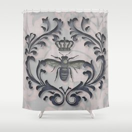 Pink and Gray Vintage Damask French Bee Shower Curtain