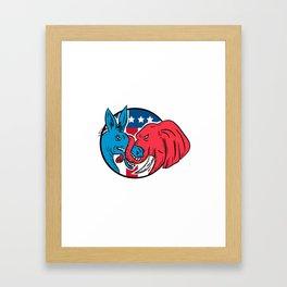Donkey Biting Elephant Trunk American Flag Drawing Framed Art Print