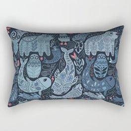 Arctic animals. Polar bear, narwhal, seal, fox, puffin, whale Rectangular Pillow