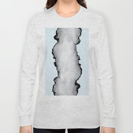 Light Blue Gray and Black Graphic Cloud Effect Long Sleeve T-shirt
