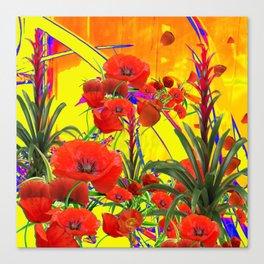 MODERN TROPICAL FLOWERS GARDEN DESIGN IN YELLOW-ORANGE COLORS Canvas Print