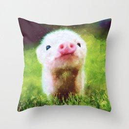 CUTE LITTLE BABY PIG PIGLET Throw Pillow