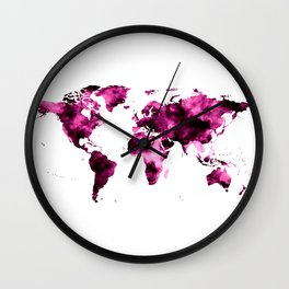 World Map in Pink Paint Wall Clock