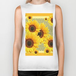 YELLOW KANSAS SUNFLOWERS DECO ABSTRACT Biker Tank