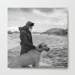 The man, the sea, the hound. Metal Print