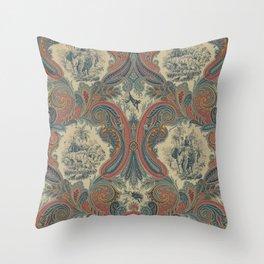 Indian 20th Century Paisley Throw Pillow