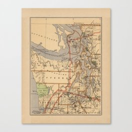 Vintage Map of The Puget Sound (1876) Canvas Print
